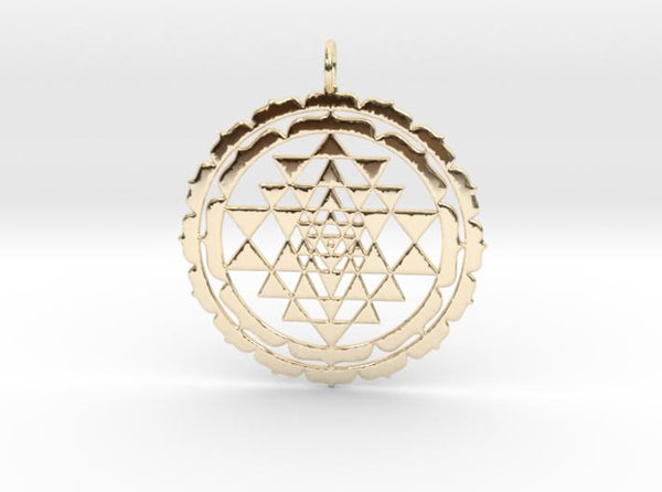 Sri Yantra Lotus 48mm-Pendants and Necklaces-14k Gold Plated Brass-Sacred Geometry Web 3d printed jewellery