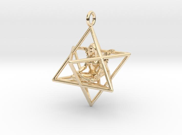 Star Tetrahedron Angel 30 mm-Pendants and Necklaces-14K Yellow Gold-Sacred Geometry Web 3d printed jewellery