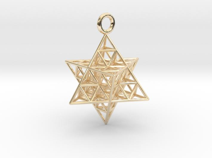 Star Tetrahedron Fractal 25mm or 32mm-Pendants and Necklaces-14k Gold Plated Brass: Medium-Sacred Geometry Web 3d printed jewellery