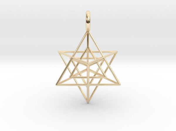 Star Tetrahedron inside Star Tetrahedron 28mm-Pendants and Necklaces-14k Gold Plated Brass-Sacred Geometry Web 3d printed jewellery