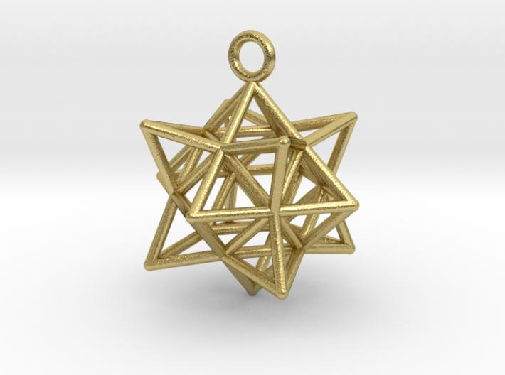 Stellated Cuboctahedron 35mm-Pendants and Necklaces-Natural Brass-Sacred Geometry Web 3d printed jewellery