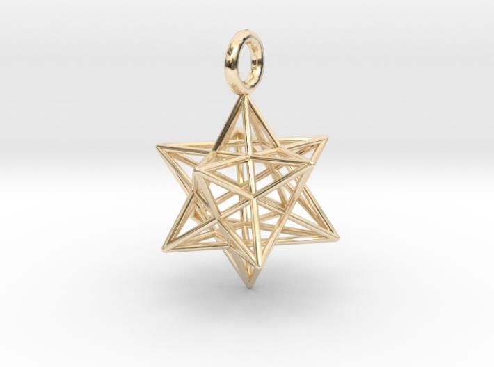 Stellated Dodecahedron - 2 sizes - 23mm & 31mm-Pendants and Necklaces-14k Gold Plated Brass: Small-Sacred Geometry Web 3d printed jewellery