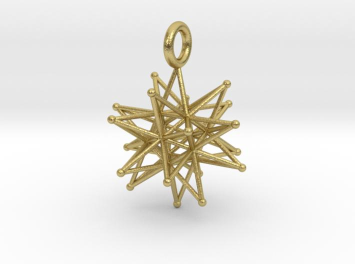 Stellated Icosahedron 26mm and 37mm-Pendants and Necklaces-Natural Brass: Medium-Sacred Geometry Web 3d printed jewellery