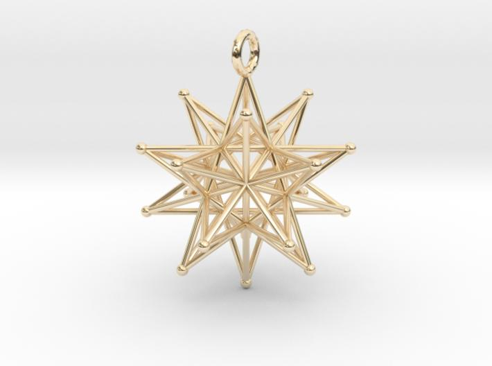 Stellated Icosahedron 27mm diameter-Pendants and Necklaces-14k Gold Plated Brass-Sacred Geometry Web 3d printed jewellery