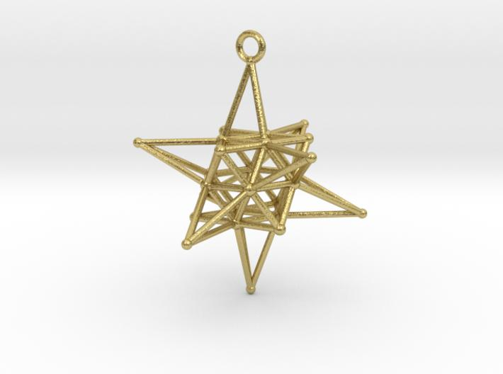 Stellated Vector Equilibrium - Spirits Guiding Star-Pendants and Necklaces-Natural Brass-Sacred Geometry Web 3d printed jewellery