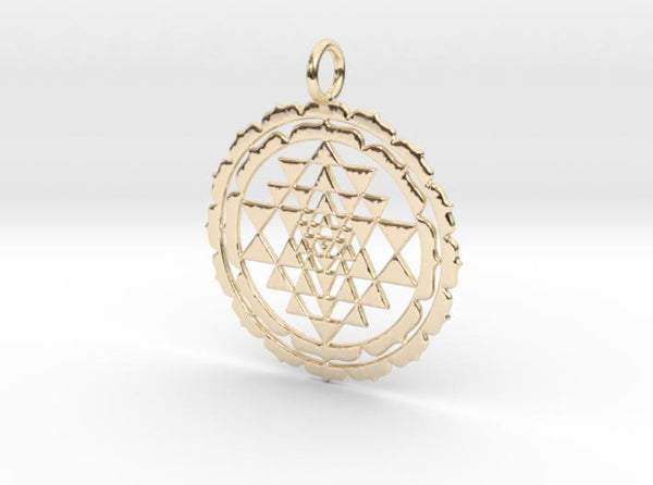 Super Accurate Sri Yantra Lotus 38mm and 48mm-Pendants and Necklaces-14k Gold Plated Brass: Medium-Sacred Geometry Web 3d printed jewellery