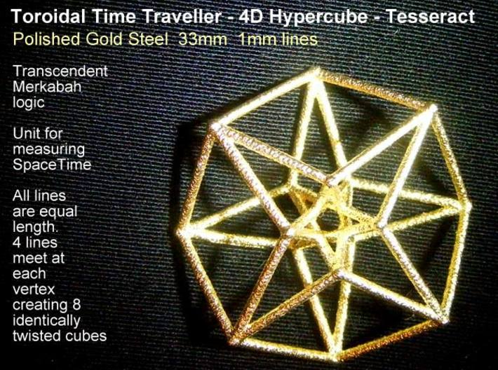 Toroidal Hypercube 35mm 1mm Time Traveller-Memes-Polished Gold Steel-Sacred Geometry Web 3d printed geometric models