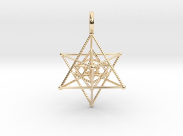 Tripple Star Tetrahedron 27mm-Pendants and Necklaces-14k Gold Plated Brass-Sacred Geometry Web 3d printed jewellery