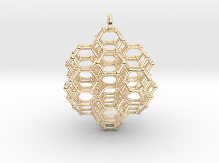Truncated Octahedral Honeycomb - 28mm-Pendants and Necklaces-14k Gold Plated Brass-Sacred Geometry Web 3d printed jewellery