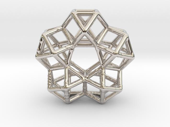 Vector Equilibrium Circle of 5 cuboctahedrons - 40mm-Mathematical Art-Rhodium Plated Brass-Sacred Geometry Web 3d printed jewellery