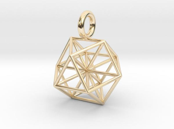 Vector Equilibrium - Cuboctahedron pendant - 21mm & 30mm-Pendants and Necklaces-14k Gold Plated Brass: Small-Sacred Geometry Web 3d printed jewellery