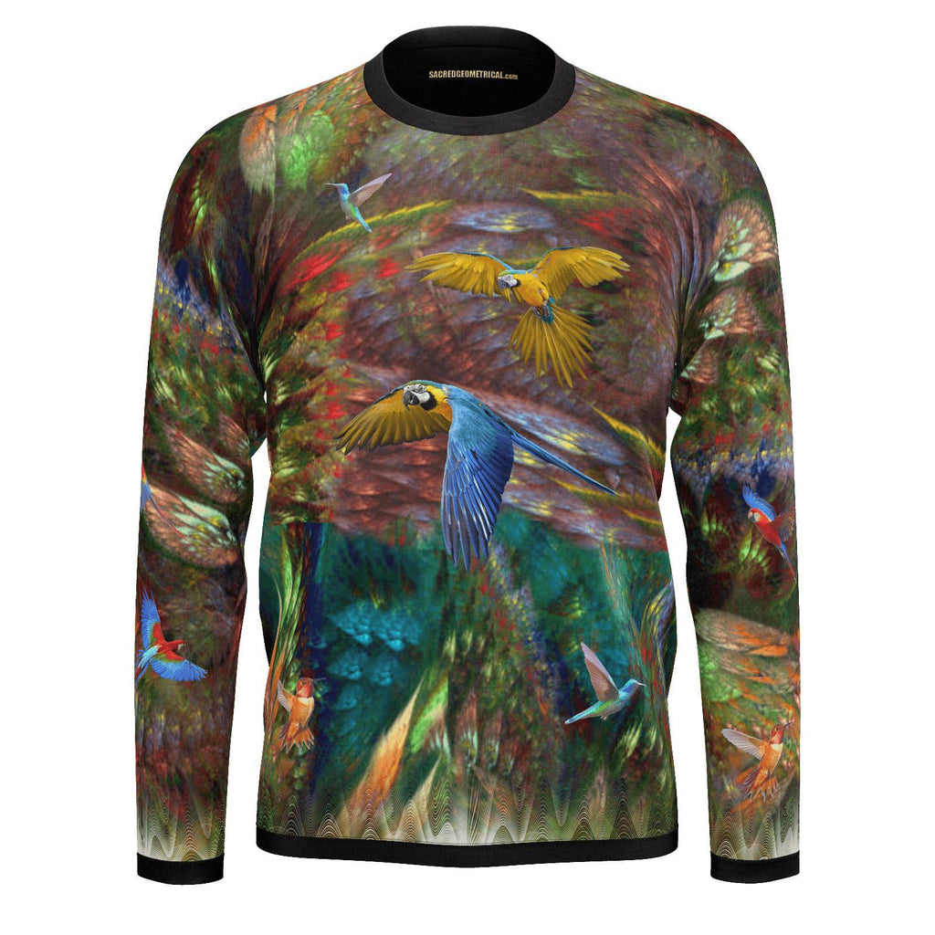 Wings of Fractal Paradise - Mens Long Sleeve Tshirt-Shirt-Sacred Geometry Web mens clothing