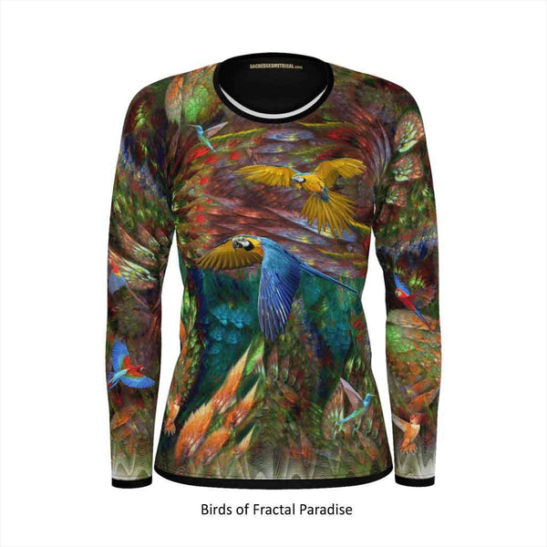 Wings of Fractal Paradise - Womens Long Sleeve Tshirt-Shirt-Sacred Geometry Web - Womens Flower of Life clothing