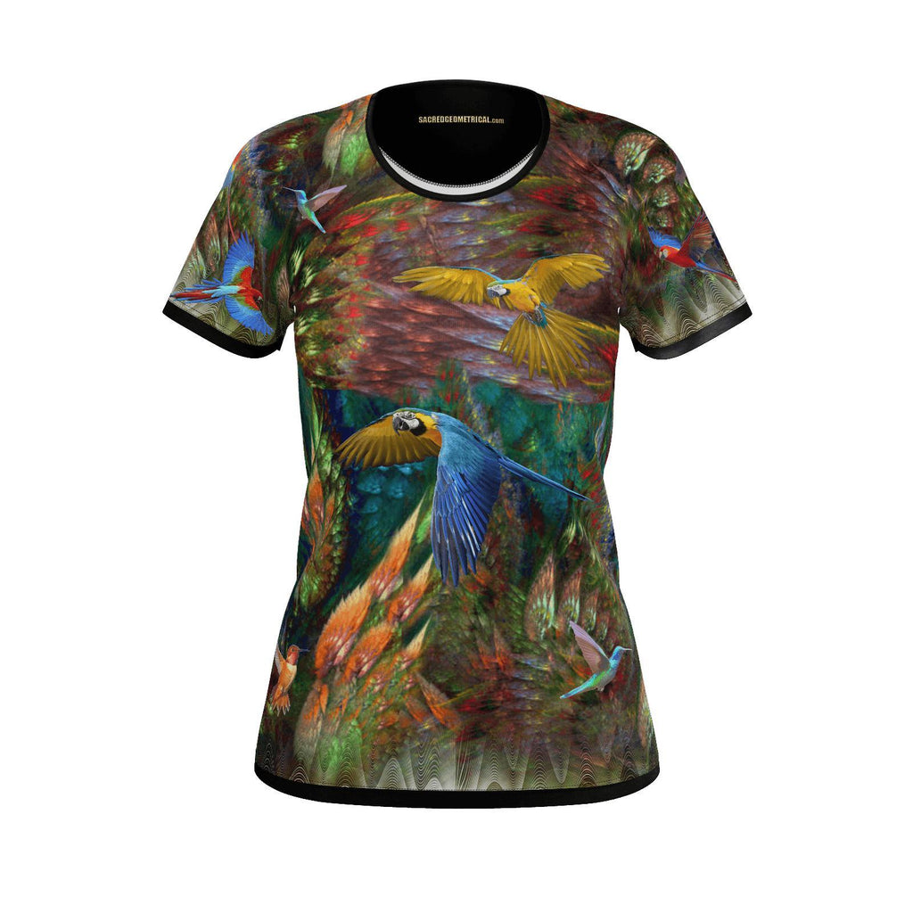 Wings of Fractal Paradise - Womens Tshirt-Shirt-Sacred Geometry Web - Womens Flower of Life clothing