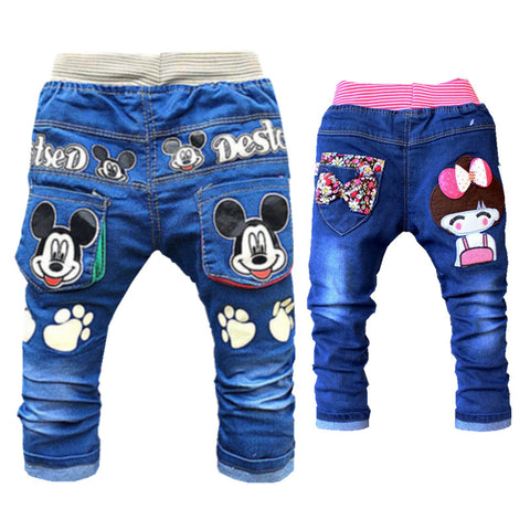 Cartoon Printed Denim Pants