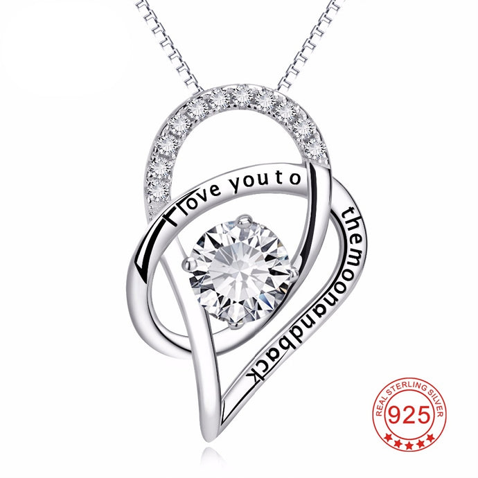 100% Pure 925 Sterling Silver I Love You To The Moon And Back  Heart Pendant Necklace