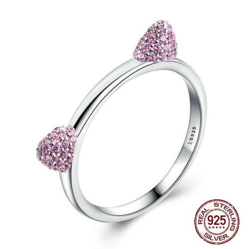 Authentic Real 100% 925 Sterling Silver Cute Cat Ears Pink CZ Ring