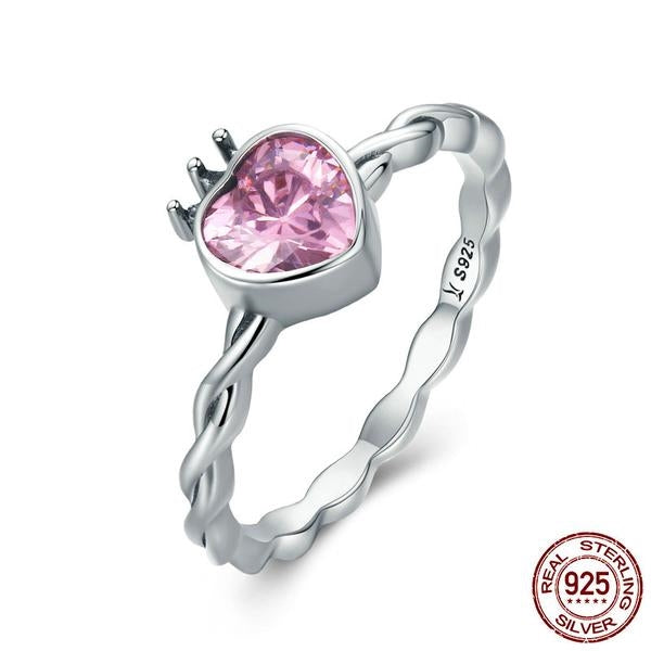 Pink CZ Heart in Crown Twisted Finger Ring