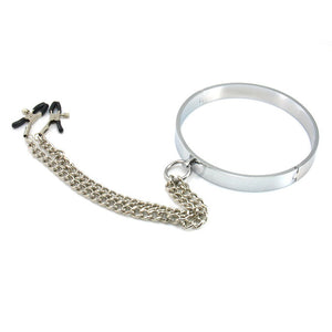 Steel Neck Collar And Nipple Clamps - The Glass Dildo @ theglassdildo.co.uk