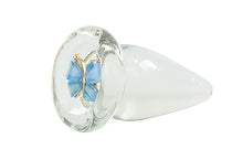 The Blue Butterfly Glass Anal Plug - The Glass Dildo @ theglassdildo.co.uk