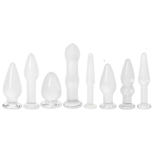 The Elegant Eight Piece Glass Anal Plug Set - The Glass Dildo @ theglassdildo.co.uk