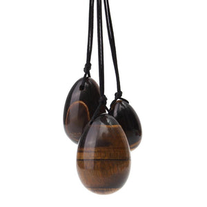 Natural Tiger Eye Crystal Yoni Egg Set - The Glass Dildo @ theglassdildo.co.uk