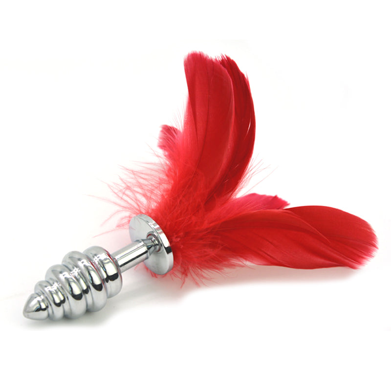 The Steel Kiss Feather Tickler Anal Plug - The Glass Dildo @ theglassdildo.co.uk