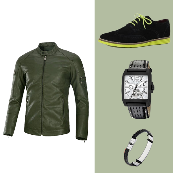 PACK AT-001 JACKET CUIR + BASKET NOIR + bracelet