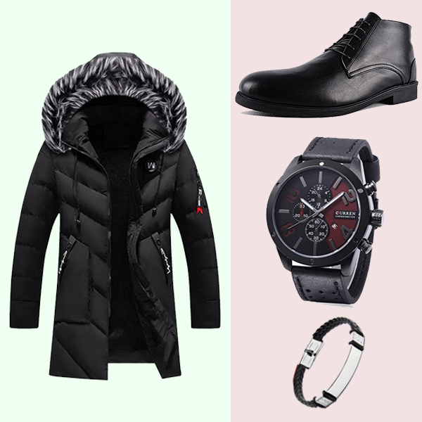 PACK G90-1 JACKET CUIR + Bottine NOIR + Bracelet