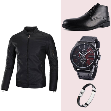 PACK AT-001 JACKET CUIR + Bottine NOIR + bracelet