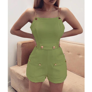 2019 Fashion Women's Sleeveless Chain Belt Stylish Jumpsuit Shorts Trouser Ladies Holiday Casual Playsuits Streetwear