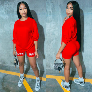 2020 New Summer Letter Print Casual Women's Two Piece Outfits Set  Tracksuit  Shirt Sexy Top +Biker Shorts Jogger 2 piece Active