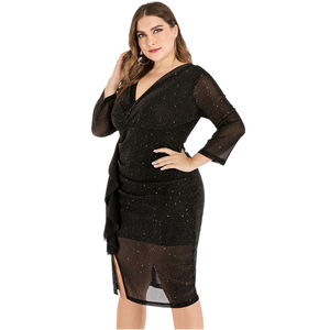 2020 Sexy Lace Plus Size Dress For Fat Female 5XL Women Deep V Neck Vintage Midi Dress Skinny Package Hip Black Party Dress