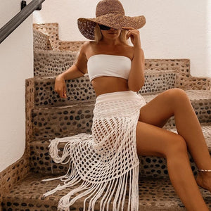 2020 Summer Beach Dress Tassel Long Skirt Women Sexy Beach Cover Up Kimono Wrap Elegant Sleeveless Beach Skirt Net Party Crochet