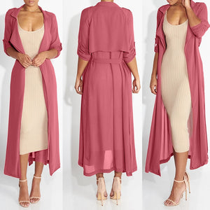 Summer Women Chiffon Cardigan Long Sleeve Sexy See-Through Ladies Lapel Long Jacket Blouse Shirt Beach Cover Up Femme Outerwear