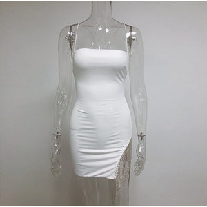 NewAsia 2 Layers Diamond Party Dress Women 2020 Summer Backless Tassel Hem Valentine Sexy Club Dress Elegant White Dress Mini