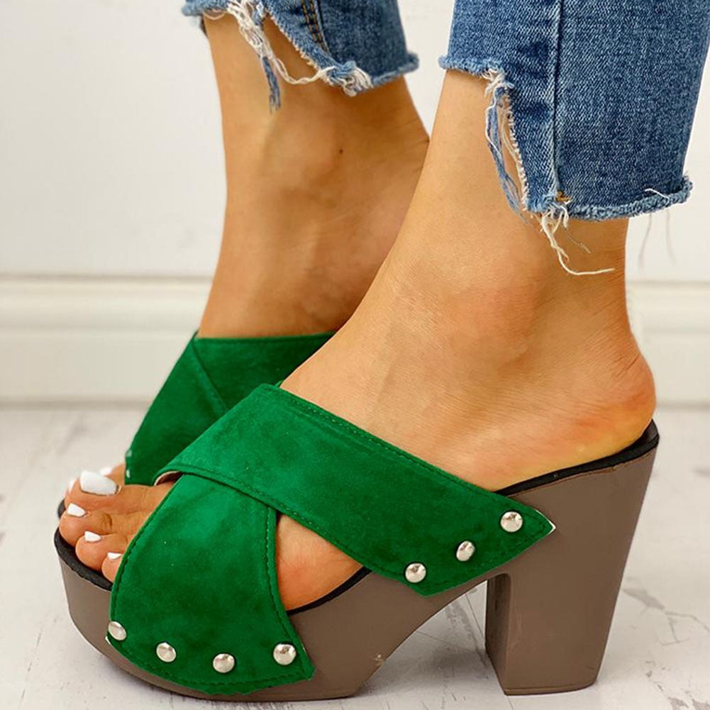 SARAIRIS high heels Leisure platform women's comfortable Sandal summer fashion shoes Mules shoes slippers