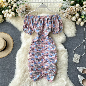 SINGRAIN Women Print Floral Pencil Dress Korean Puff Sleeve Slash Neck Ruched Dress Summer Vacation Sexy Sheath Dress 2020