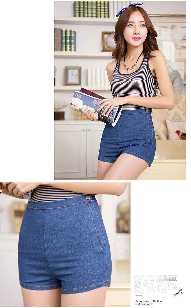 Sexy Denim Shorts Women Slim High Waist Jeans Tap Short Hot Shorts Tight Side Button Wash Ladies Short Pants Trousers