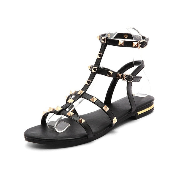 7af531b19 ... WETKISS 2019 Summer Genuine Leather Sandals Rivet Gladiator Ladies Shoes  Fashion Women Flat Sandals Cool Girls ...