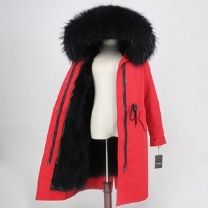 2019 Real Fur Coat Winter Jacket Women Long Parka Waterproof Big Natural Raccoon Fur Collar Hood Thick Warm Real Fox Fur Liner
