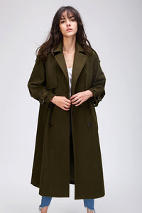 JAZZEVAR 2019 Autumn winter New Women's Casual wool blend trench coat oversize Double Breasted X-Long coat with belt 860504