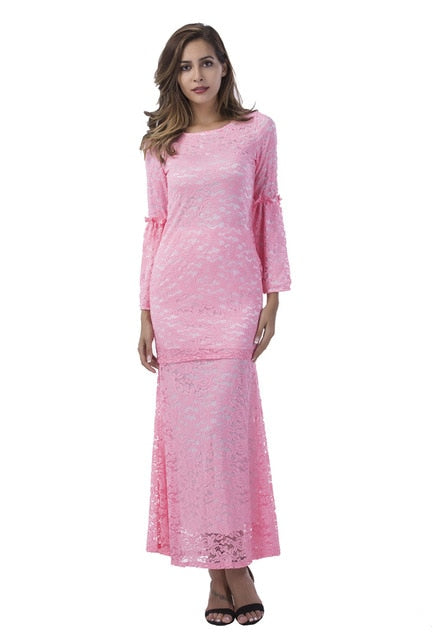 Lace dress clothes for women floral dress club dress plus size ladies  dresses robe longue femme long sleeve dress green