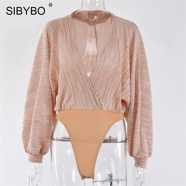 Sibybo Deep V-Neck Patchwork Sexy Bodysuit Women Fashion Long Sleeve Loose Women Rompers Autumn Casual Bodysuit Jumpsuit 2019