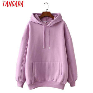 Tangada women fleece hoodie sweatshirts winter japanese fashion 2019 oversize ladies pullovers warm pocket hooded jacket SD60