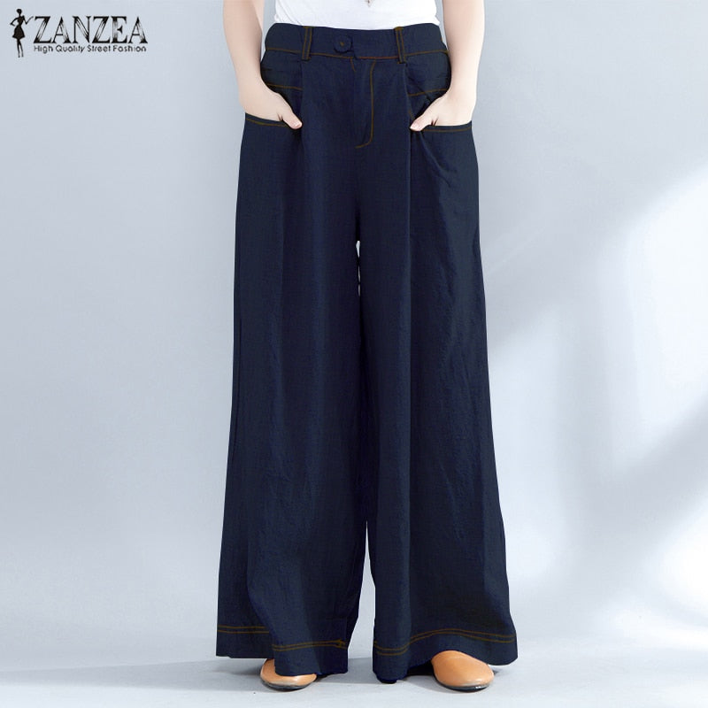 Pants for Women Wide Leg Pants ZANZEA Womens Casual Long Trousers Ladies High Waist Work Pants Streetwear Solid Pantalones Mujer