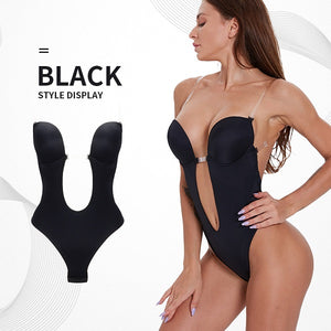 Body Shaper  Deep V Lady Party Dress Backless Underwear Sexy U Plunge Bra Thongs Slimming Bodysuit lingerie Seamless Shapewear