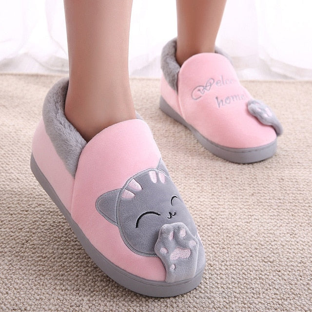 Women's House Shoes Women Warm Home Slippers Couple Shoes Female Plush Cat Animal Ladies Slip On Flats Woman Plus Size 36-44