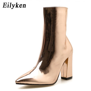 Eilyken Fashion Gold Silver Patent Leather Women Ankle Boots Pointed Toe Square Heel Boots Stiletto Women Pumps Chelsea Boots