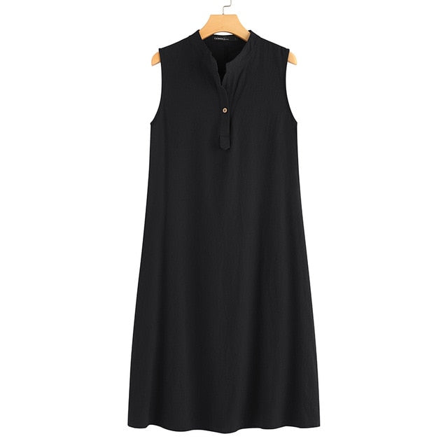 Celmia Plus Size Women Summer Linen Dress Casual Buttons Loose Vintage Shirt Sundress 2019 Sexy Sleeveless Solid Midi Vestidos 7